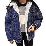Donna Caldo Giacche Capispalla Pelliccia Allineato Inverno Spesso Cappotto Blu marino XL
