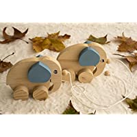 Pull along wooden elephant toy for babies – Ecological Wooden Toy for Children