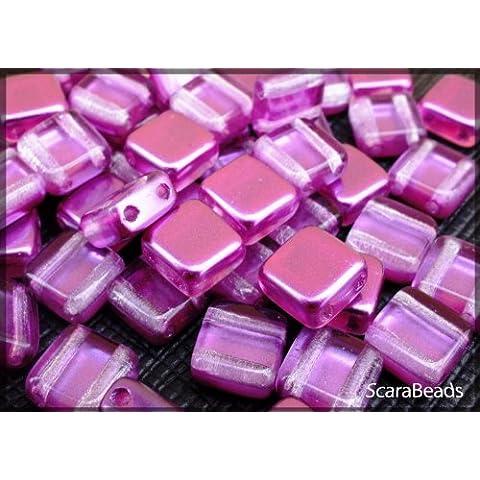 40 pz Tile Beads - Ceco piazza perline di vetro con due fori, rivestimento perla da un lato, Purple