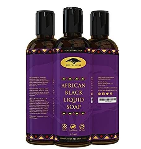 (236 ml) African Liquid Black Soap with Coconut Oil and Shea Butter - Body Wash, Shampoo and Face Wash - Helps Clear Dry Skin, Acne, Eczema, Psoriasis - Organic Liquid African Black Soap from