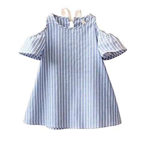 Bekleidung Longra Baby Kinder Mädchen Prinzessin Kleid Kurzarm gestreift Kleider Mädchen Sommer gestreift Kleid (5-14 Jahre) (120CM 9-10Jahre,
