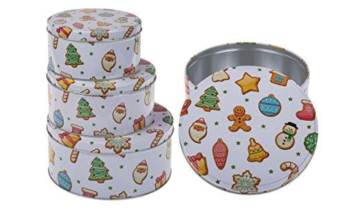 Plätzchendose Gebäckdose Blechdosen Vorratsdosen mit buntem Lebkuchenmotiv 3 Stück