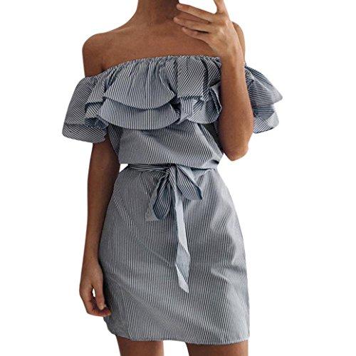 OverDose mujer De Verano A Rayas del Hombro Volante Vestido con Correa De Vacaciones De Playa Sombrero Sexy Mar Mini Corto Vestido Plus (XL, Azul Marino)