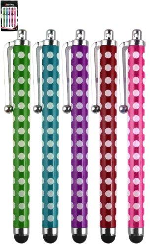 Emartbuy® Denver TAQ-10153 / TAQ-10122 / TAQ-10123 / TAQ-10133 / TAQ-10142 10.1 Zoll Tablet Packung 5 Polka Dots TouchscreenhoherQualitätGummiTip-Stiftss