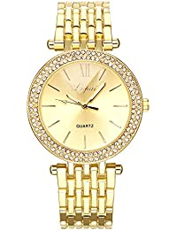 naivo Quartz Stainless Steel and Plated Watch, Color:Gold-Toned (Model: 1)