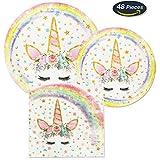 AMZTM Magisch Einhorn Party Zubehör - 48 Stück Einhorn Teller Servietten Partygeschirr Zum Kinder Mädchen Geburtstag Baby Shower (Rainbow)