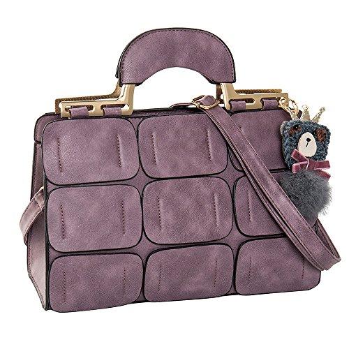 Frauen Nahtset Nahtmaterial Boston Taschen geneigt Handtaschen Schulter Messenger Kissen Bag PU Leder violett (Handtasche Top Boston)