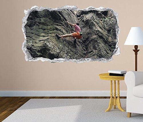 3D Wandtattoo Freeclimbing Felsen Klettern Extrem Wand Aufkleber Durchbruch Stein selbstklebend Wandbild Wandsticker 11N280, Wandbild Größe F:ca. 97cmx57cm