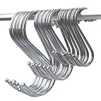 Stainless Steel Silver S Hooks for Kitchen Hanging, 10 Pack