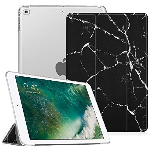 Fintie iPad 9.7 Zoll 2018/2017 Hülle - Ultradünn Superleicht Schutzhülle mit transparenter Rückseite Abdeckung Cover Case mit Auto Schlaf/Wach Funktion für Apple iPad 9,7'' 2018/2017, MarmorSwcharz