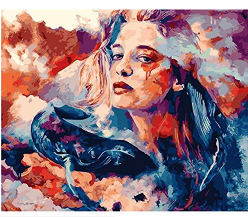 Malen Nach Zahlen DIY Ölgemälde Auf Leinwand White Beauty 2 Weiß Wolf Dog Woodland Ölfarbe Foto Für Kinder Studenten Erwachsene Ohne Rahmen 16X20 Inch -