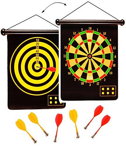 alles-meine.de GmbH 2 seitiges - Magnetspiel Dart - incl. 6 Dartpfeile - OHNE Spitze - mit 2 Spielvarianten - für Kinder & Erwachsene - drinnen und draußen Spiel - Dartspiel - Ki.. -