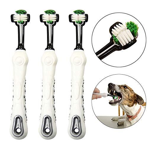 OneBarleycorn - 3 pack Spazzolino per cani per cure dentistiche per animali domestici Spazzolino a tripla testina