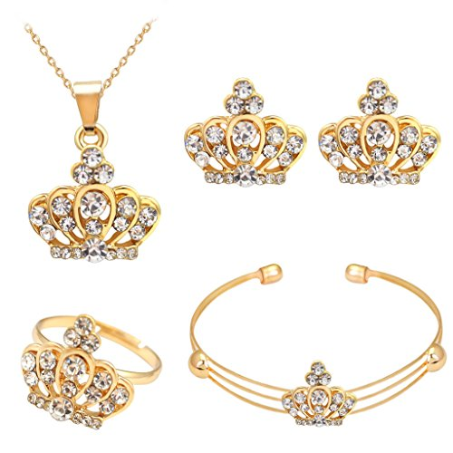 Joyería Collar Corona Pendiente Anillo Pulsera Diamantes de Imitación para Mujeres Boda Partido