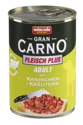 Animonda Gran Carno Hundefutter Adult Rind + Kaninchen mit Kräutern, 6er Pack (6 x 400 g) (Hundefutter Kaninchen)
