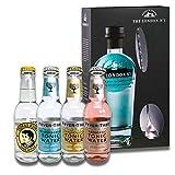 Gin Tonic Geschenkset   Probierset mit Gin und verschiedenen Tonic Water (The London Gin No. 1 + Barlöffel + 4 Tonic Water)