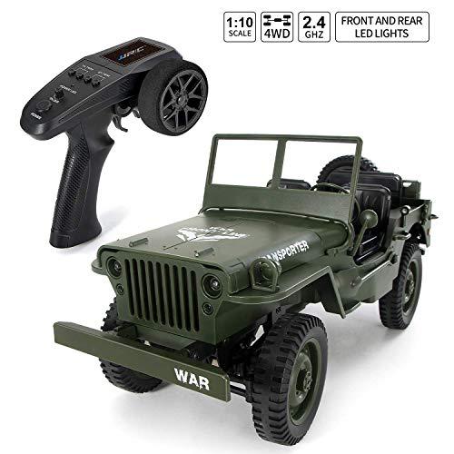 1/10 4wd rc camión militar, radio control todo terreno control remoto camión militar 46km/h 2.4ghz rtr controlador control remoto eléctrico camión todoterreno buen regalo para niños,verde