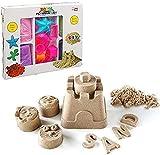 Premium Set Kinetischer Sand in 3 Farben + 12 Sandformen HUKITECH Kreatives Spiel Kinetics Basteln Familienspiel Lernspiel - Bastelspiel mit hohem Spaßfaktor wie Kroko doc