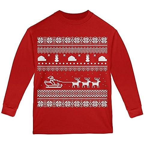 Slitta Babbo Natale brutto maglione rossa gioventù manica lunga t-shirt