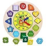 Eizur Tempo Orologio di Apprendimento Giocattoli di Legno Ordinamento di Forme Geometria Digitale Puzzle Orologio Fai da te Perline Educazione Precoce Giocattolo Regalo per Bambini