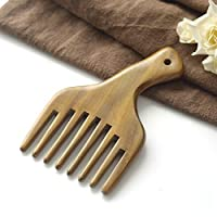 YOIL Health Care Thick Wide Tooth Handle Massage Green Sandalwood Comb