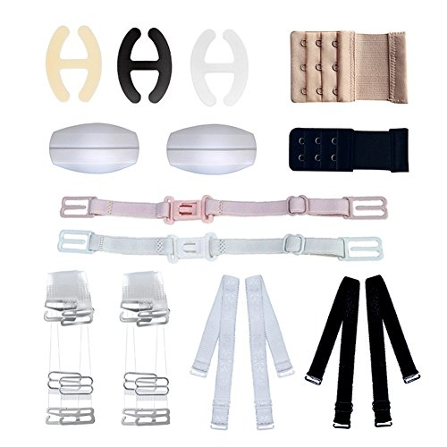 Bra Strap Holder, Bra Accessories Set of 12 for Woman Girls with Adjustable Bra Invisible Straps Bra Clips and Extenders Shoulder Pad Multi Style Set (12 Pack)