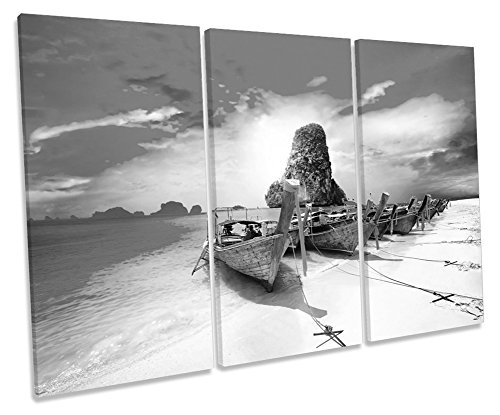 Canvas Geeks Leinwandbild, Motiv: Thailand, Strandboot, Sonnenuntergang, Schwarz/Weiß, 60cm Wide x 40cm high