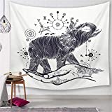 Morbuy Psychedelic Elefant Wandteppich, Dekoration Tapisserie Kreativ Motiv Wandbehang aus Polyster Wandtuch Tischdecke Meditation Yogamatte Strandtuch (Groß (150 x 200cm), Skizzieren)