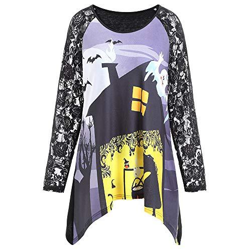 GOKOMO Frauen-Halloween-Spitze-runder Ansatz gedruckte Kürbis-unregelmäßige Hemd-Bluse