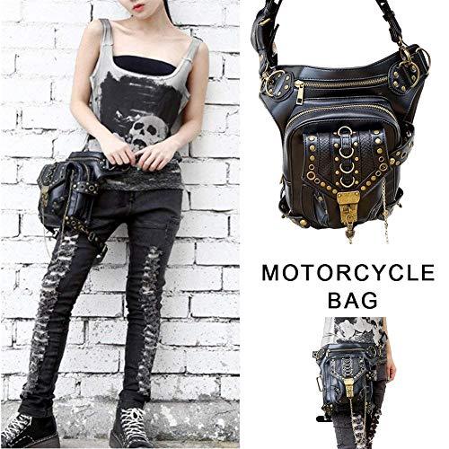 duhe189014 Bolso Retro de la Motocicleta de Steam Punk Retro Rock Gothic Skull Waist Pack Pierna Bolsa para Hombres Mujeres