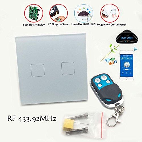 Jadis-Smart Smart RF Touchscreen-Lichtschalter für die Wand, 433,92MHz, EU-Standard mit Fernbedienung, aus luxuriösem gehärtetem Glas mit Kristall-Fläche, wasserdicht, feuchtigkeitsabweisend, feuerfest, Überlastungsschutz, bestes elektrisches Relais, Hitzeschutz, zur universalen Verwendung mit elektrischen Geräten