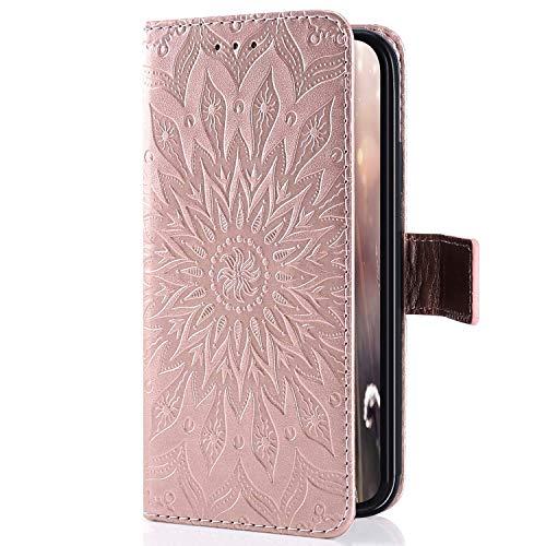 Uposao Kompatibel mit Samsung Galaxy M10 Handytasche Retro Mandala Blumen Muster Handy Hülle Flip Case Cover Schutzhülle Tasche Lederhülle Bookstyle Klapphülle Kartenfächer,Rose Gold