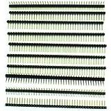 SODIAL(R) 10 Piezas Conector Pin 1 x 40 Pin 2.54mm Una Fila Angulo Recto PCB