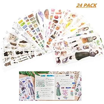 FISHSHOP Scrapbooking Aufkleber in 24 Blatt Verschiedene Muster Blumen Sticker Gr/ünpflanzen Pflanzen f/ür Tagebuch Scrapbook Kalender Notizbuch Fotoalbum DIY Dekoration