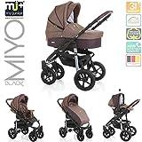 My Junior+® Miyo Kombikinderwagen Komplettset bis zum 4.Lebensjahr---3 Years Guarantee---+Autositz (11-Teile-Megaset) Premium Kinderwagen (Coffee)