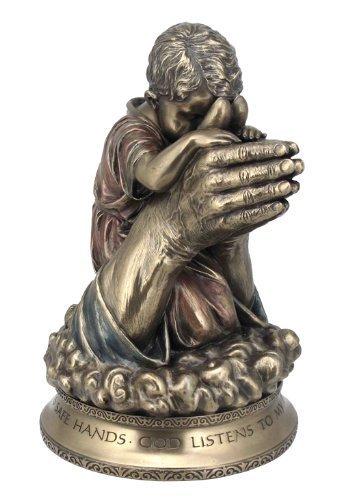 Boy Niño Rezando en Las Manos de Dios Estatua Escultura Figura Decorativa