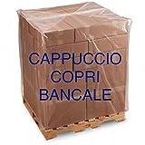 3 CAPPUCCI COPRI PALLET LDPE cm 120+55+55x170 IMPERMEABILE 140 MICRON