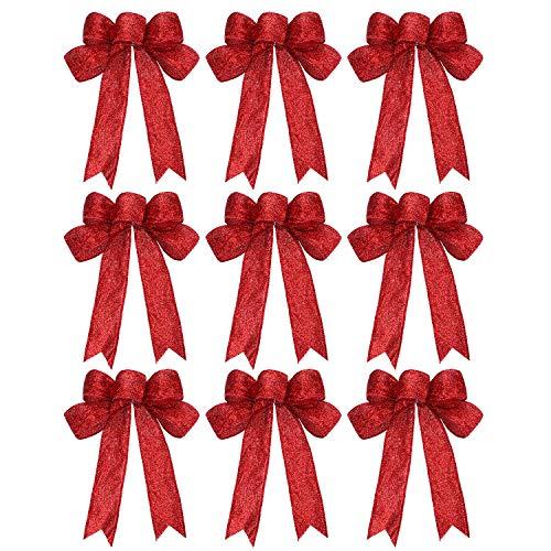 WILLBOND 9 Stück Weihnachten Band Schleife Funkeln Weihnachten Schleife Weihnachten Kranz Bogen für Weihnachten Party Dekoration (Rot)