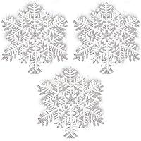 White Glitter Snowflake 16.5cm Hanging Dec Pk3