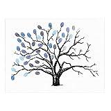 vorcool Fingerabdrücke Baum Signature Baum DIY Gäste anmelde Buch für Hochzeit Geburtstag Baby Dusche Partei (blau)