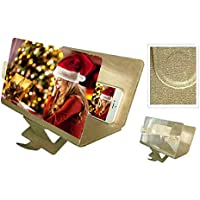 FeiliandaJJ 3D Phone Screen Magnifier 8 Inch Desktop Leder Bracket Portable Stereoscopic Amplifying Suitable for Indoor, Camping, Tourism, Leisure and Other Places. (Gold)