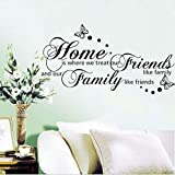 Mddjj New 56 * 107 Cm Home Ist Wo Wir Freunde Wie Familie Englisch Sprüche Zitat Schmetterling Pvc-Wandaufkleber Behandeln