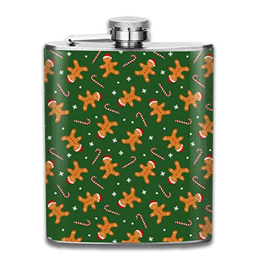 Rghkjlp Cute Gingerbread and Candy Cane Portable Flask for Liquor and Funnel 7 Oz Stainless Steel Flask Bottle for Discrete Shot Drinking of Alcohol, Whiskey, Rum and Vodka | Gift for Men