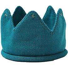 LUOEM Diadema Corona Cumpleaños Bebe Sombrero Gorro de Punto Bebe Invierno Azul