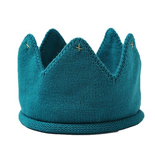 LUOEM Baby Krone Strickmütze Stoff Krone Stirnband Königskrone Kopfschmuck für Kinder Kinder Geburtstag Party Karneval Fasching Hochzeit Dekor (blau) -