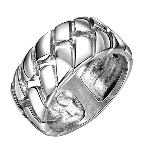 PAURO Herren Edelstahl Poliert Silber Reifen Lauffläche 10Mm Band Ring Größe 60 (Rost Kostüm Weiblich)