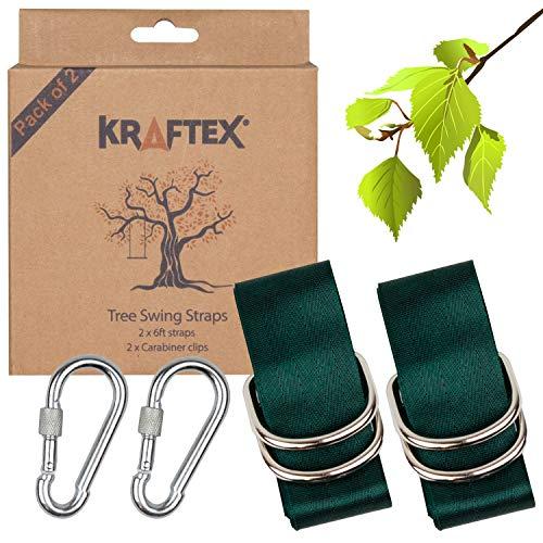 Gurte für Ihre Baumschaukel [2 Gurte] Verstellbare 6-Fuß-Gurte mit 2 Hochleistungskarabinern. Easy Tree Swing Gurte für Holzschaukel, Hängematte, Seilschaukel, Scheibenbaumschaukel & Reifenschaukel