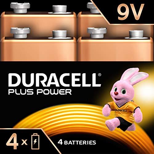 Duracell Plus Power Piles Alcalines Type 9V, Lot de 4 Piles (Visuel non Contractuel)