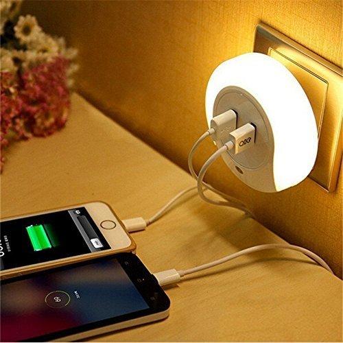 Ledemain luce notturna con sensore di crepuscolo e con 2 porte usb ricarica 3 modalità auto/on/off