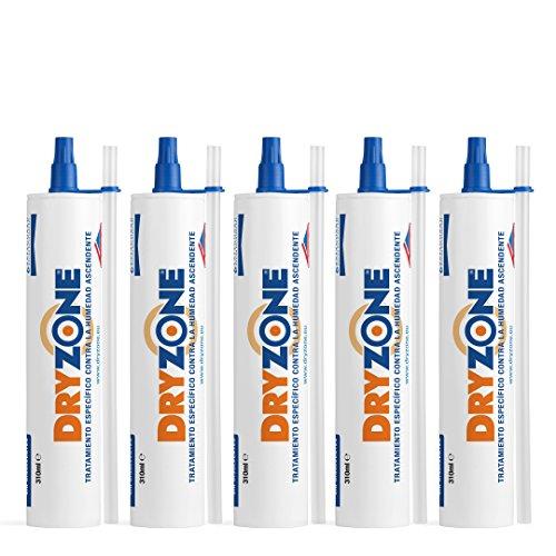 Dryzone Crema Contra la Humedad 5 x 310ml - Crema de Inyección Contra la Humedad para Tratamiento de la Humedad Ascendente
